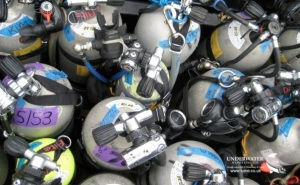 Cylinders, air tanks, mixed gas diving, Rosemary E Lunn, Roz Lunn, Divetech, nitrox, stage cylinders, The Underwater Marketing Compay, buying cheap dive gear online, scuba diving PR, rebreather diving