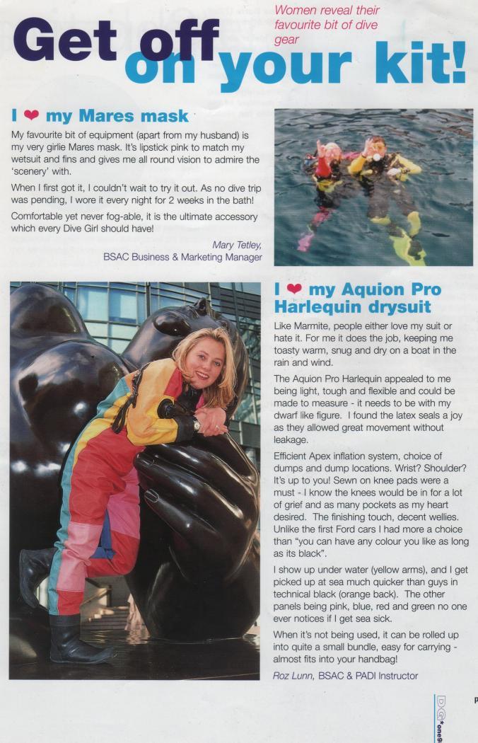 Dive Girl Magazine, Rosemary E Lunn, Roz Lunn, The Underwater Marketing Company, Mary Tetley, BSAC, British Sub Aqua Club, Aquion Pro drysuit, Apeks valves,