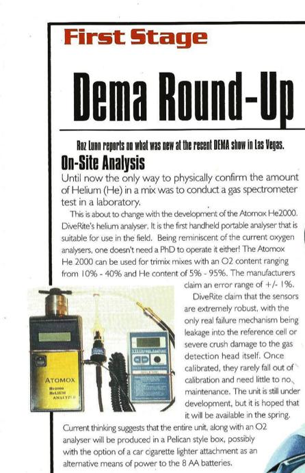 Dive Rite, DEMA Show 2000, Rosemary E Lunn, Lamar Hires, Jared Hires,  DEMA Show, 990 Magazine, Roz Lunn,