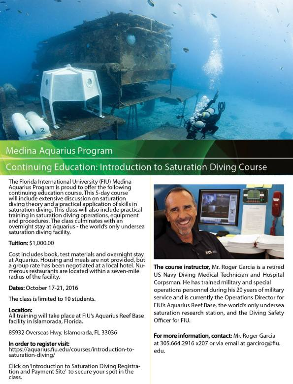 Florida International University, Aquarius Undersea Reef Base, FIU, Saturation Diving, Dawn Kernagis, NEEMO 21, Rosemary E Lunn, Roz Lunn, The Underwater Marketing Company, TUMC, scuba news, diving PR