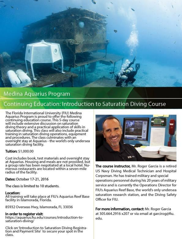 Florida International University, Aquarius Undersea Reef Base, FIU, Saturation Diving, Dawn Kernagis, NEEMO 21, Rosemary E Lunn, Roz Lunn, The Underwater Marketing Company, TUMC, scuba news, diving PR