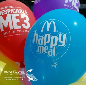 Professor Robert Richardson, McDonald's, helium balloons, Peter Wothers, MRI scanners, Despicable Me 3, environmental policy, Rosemary E Lunn, Roz Lunn, The Underwater Marketing Company, scuba diving PR,