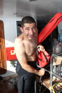 Mario Vitalini, underwater photographer, DSMB, delayed surface marker buoy, surface detection aids, scuba diving safety, Rosemary E Lunn, Roz Lunn, The Underwater Marketing Company, RNLI, Nick Fecher,